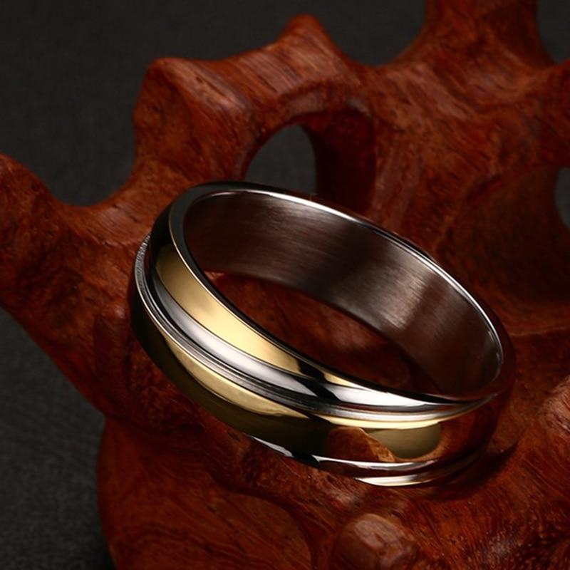 Vnox Wedding Ring for Women Men Stainless Steel Black Rose Gold Color Free velvet bag Gift 1