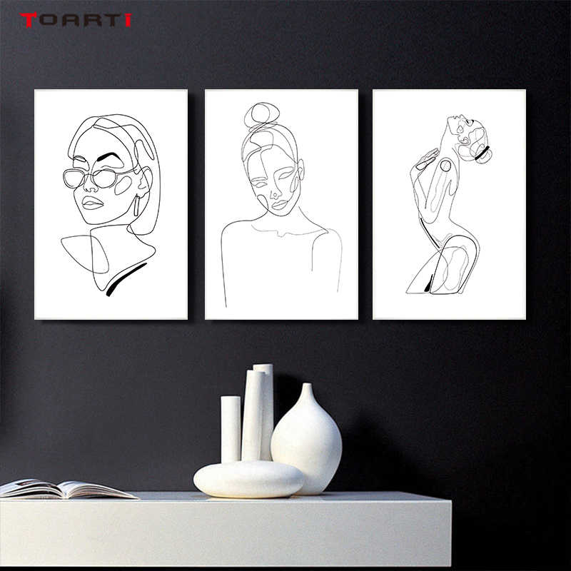 Modern wall art poster abstract women body line drawing canvas painting HD print girl bedroom decor modular wall picture murals
