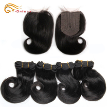 Short Curly Hair Bundles With Closure 4x1 Lace Closure Brazilian Human Hair Middle Part Closure and Curly Bundles Htonicca Hair