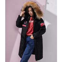 down jacket hooded, Korean coat, winter coat for women, with raccoon fur collar, Sports Park, Canada, Parks,