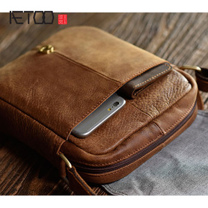 Image 3 - AETOO فرك الطبقة العليا حقيبة كتف جلدية ريترو حقيبة رجالية أوروبا والولايات المتحدة الاتجاه الصيف حقيبة ساعي حقيبة صغيرة