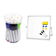 1set Dry Erase White Board for Desk,Magnetic Double Sided & 24 Pck of Erasable Whiteboard Pens with Tape Brushes