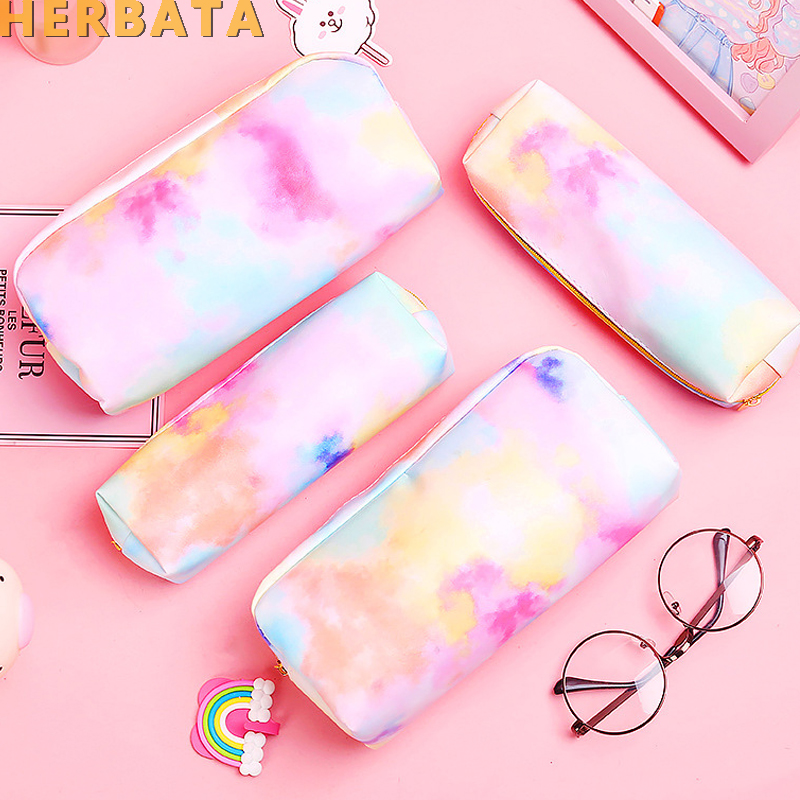 School Pencil Bag Kawaii PU Leather Pencil Bag Makeup Bag Big Pencil Pouch For Girls School Supplies Stationery Estuches 19185