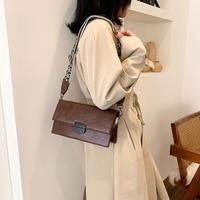 New All Match Popular Shoulder Bag Fashion Trend Wide Shoulder Strap PU Handbag Temperament Simple OL Crossbody Bag