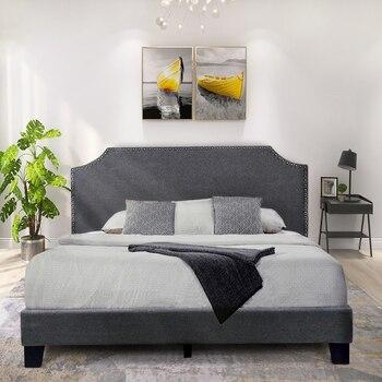 Upholstered Bed Platform Frame With Headboard King Size Home Furniture Modern Bedroom - discount item  40% OFF Home Furniture