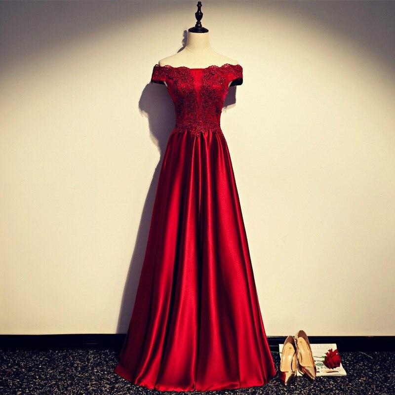 Robe De soirée manches longues bourguignon longues robes De soirée 2020 étage longueur Vintage dentelle haut pas cher robes De bal