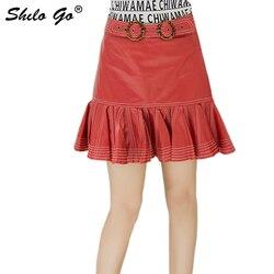 Echt Lederen Rok Preppy Multicolor Gesp Gordel Ruches Zoom Hoge Taille Rok Vrouwen Herfst Toevallige Effen EEN Lijn Mini Rokken