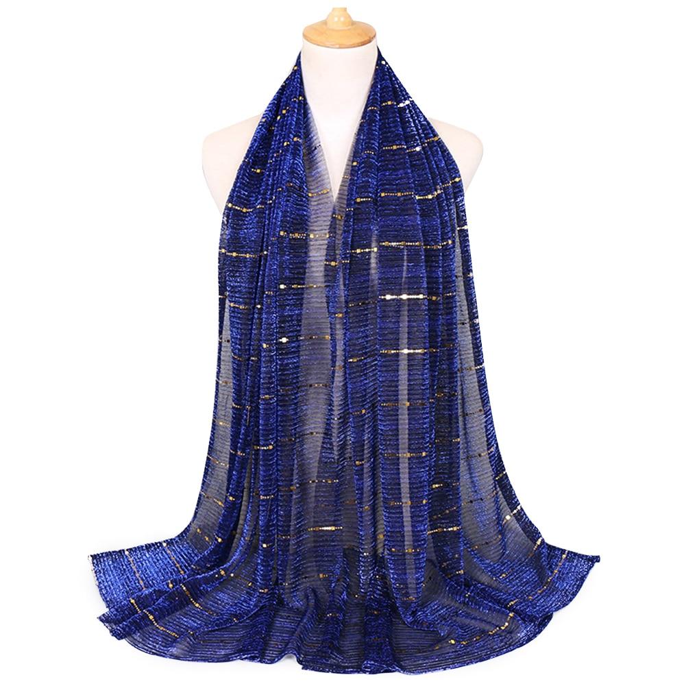 Elegant Shiny Sequins Solid Head Wrap Arab Soft Headscarf Ladies Crinkled Muslim Hijab Women Scarf Fashion Long Islamic