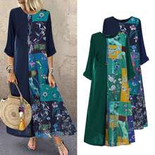 Plus Size Printed Maxi Dress Women's Summer Sundress 2020 Vintage Casual 3/4 Sle