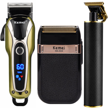 Kemei Professional Hair Clipper Men Barber Rechargeable T Blade  Cutting Machine Beard Trimmer Electric Shaver Cordless Cutter 5 kemei titanium blade professional hair trimmer rechargeable electric hair clipper barber cutting machine shaver razor