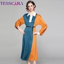 TESSCARA Women Spring & Autumn Elegant Satin Dress Festa High Quality Office Party Robe Femme Vintage A-Line Designer Vestidos
