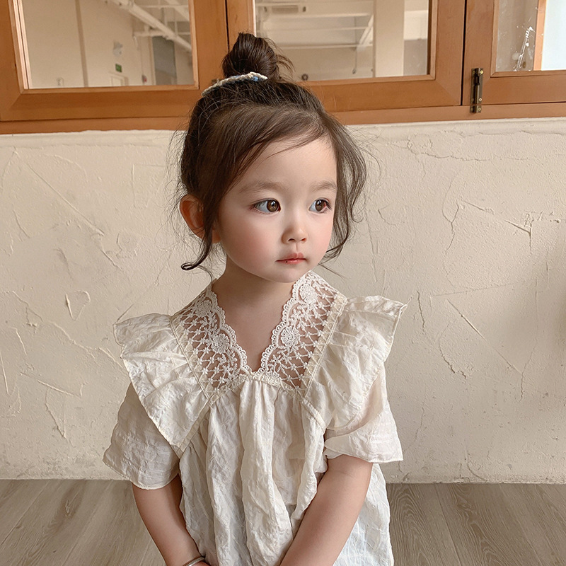685.0¥  Girls Short Sleeve 2021 Summer New Sweet Cute Lace Small V neck Children Casual Solid Color...