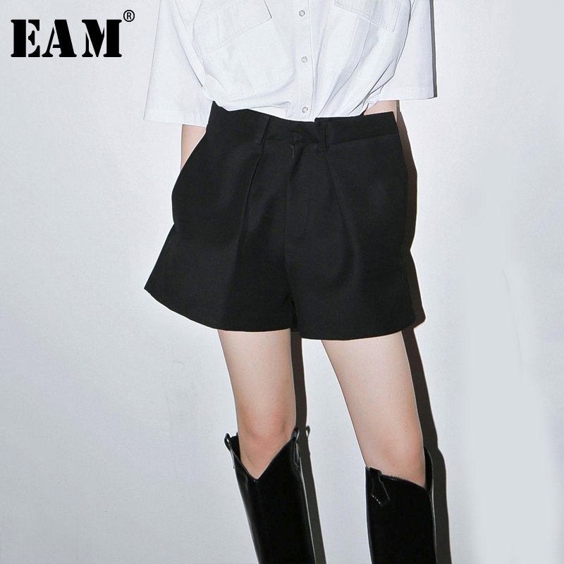 [EAM] Women Black Pleated Split Joint Wide Leg Shorts New High Waist Loose Fit  Trousers Fashion Tide Spring Summer 2020 1U379