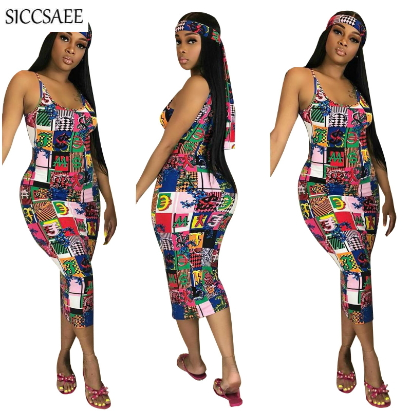2019 Vintage Block Cartoon Printed <font><b>Bodycon</b></font> Bandage Dress <font><b>Vestidos</b></font> <font><b>De</b></font> <font><b>Renda</b></font> With Headscarf <font><b>Sexy</b></font> Club Dresses Midi Spaghetti Strap image
