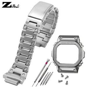 Высококачественный ремешок для часов из нержавеющей стали, Безель, твердый металлический ремешок для g shock DW5600 GW5000 5035 GWM5610, защитный чехол дл...