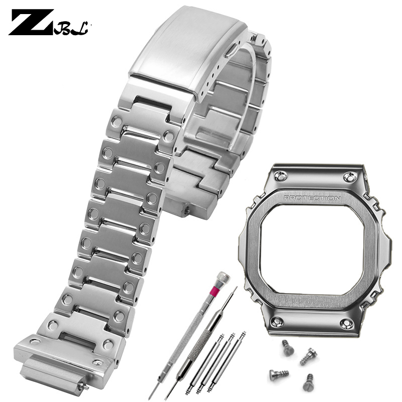 high quality stainless steel watchband watch bezel solid metal band for g shock DW5600 GW5000 5035 GWM5610 strap Protection case image