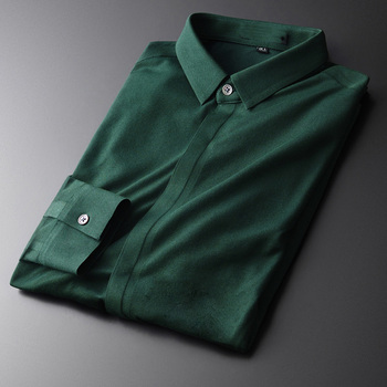 Green Cotton Luxury Pique Long Sleeve Mens Dress Plus Size 4xl Fashion Slim Fit Male Shirts