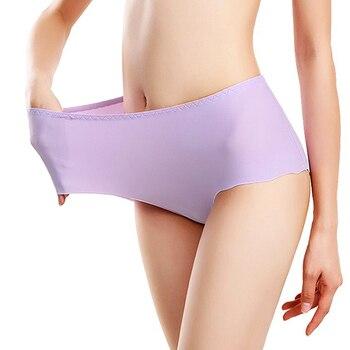 large size womens underwear ice silk one-piece seamless briefs plus fertilizer to increase high waist S-4XL