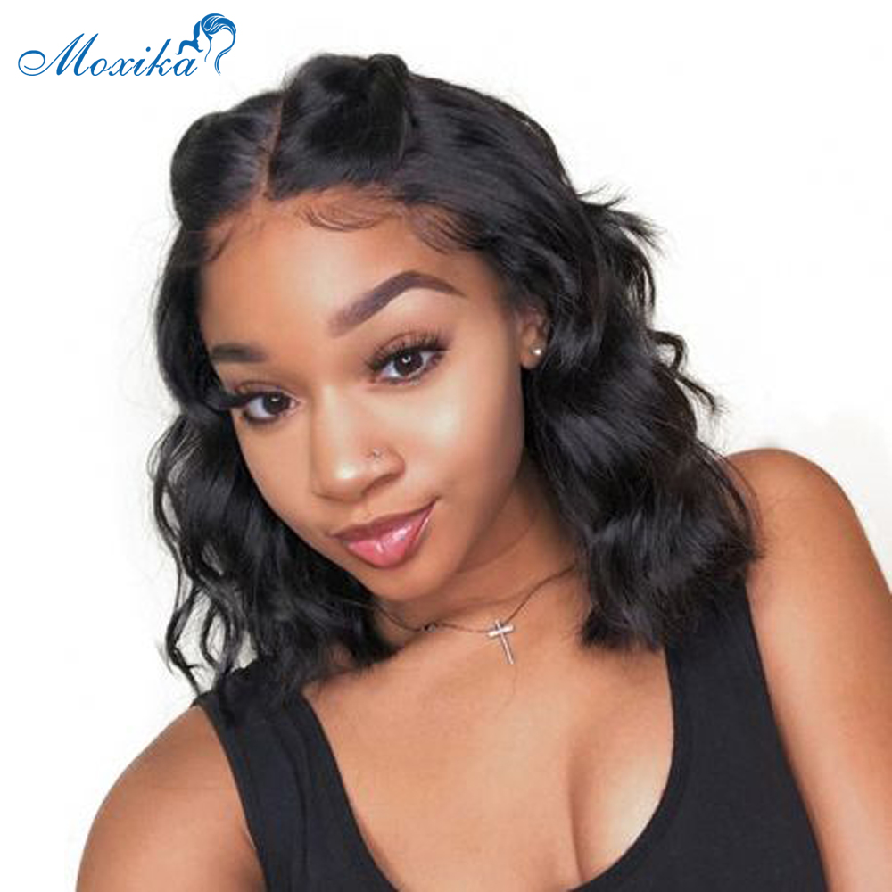 Moxika Wavy Short Bob Wig Lace Front Human Hair Wigs 150% Pre Plucked Lace Frontal Wigs With Brazilian Wave Bob Lace Front Wig