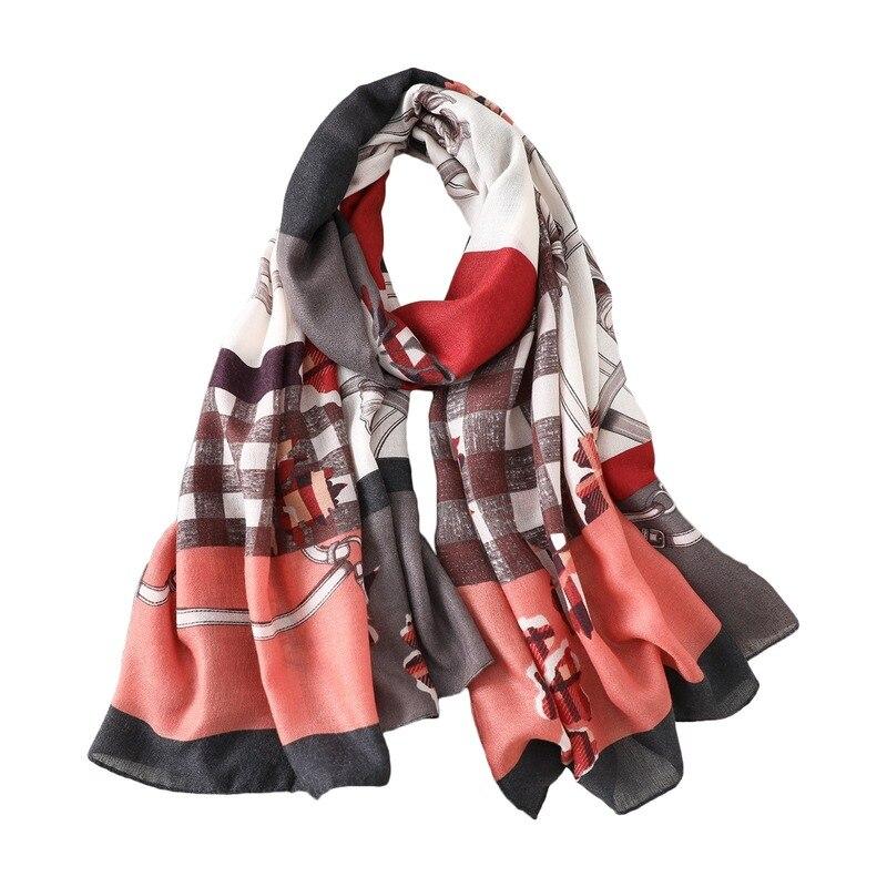 Купить шарф женский всесезонный из хлопка и льна длинный шаль в клетку