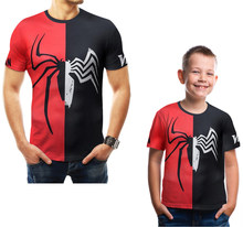 Daddy and Me Clothes Family Matching T-shirt Men's T-shirt 2019 Summer MARVEL Spider-man Fashion Tees Boys Casual Sport T-shirt(China)