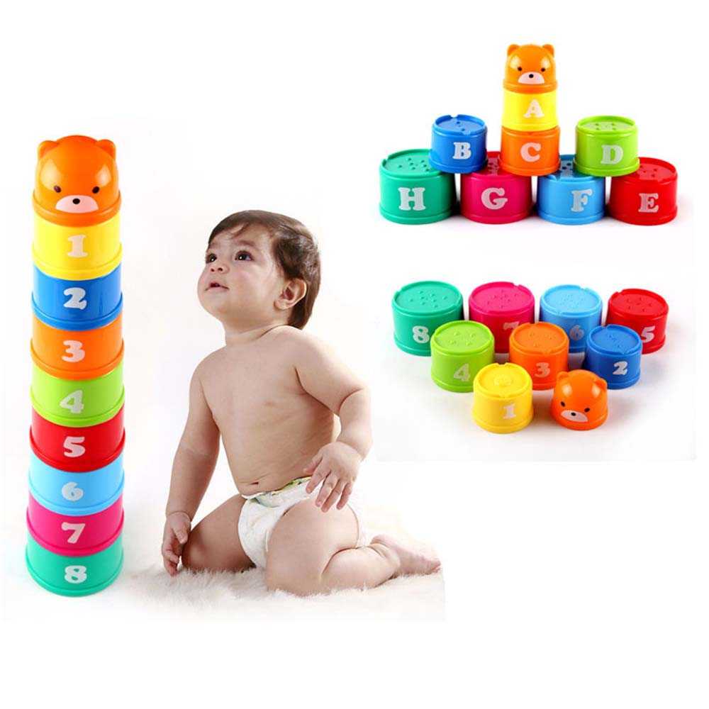 9PCS Mini Bear Stack Cup Educational Baby Toys Rainbow Color Kids Figures Folding Tower Funny Piles Cup Number Letter Toy Sets