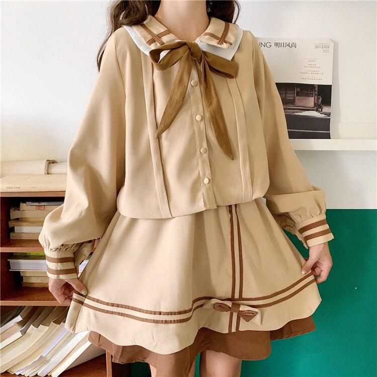 Spring Women's New  Cute College  Doll Collar Butterfly Lace Shirt Skirt JK  school girl uniform japanese fashion  school skirt