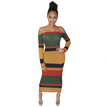 Casual Striped Knit Rib Long Dress Women Sexy Backless Off Shoulder Long Sleeve Bodycon Women's Dress Night Club Party Dress off shoulder frill trim rib knit crop tee