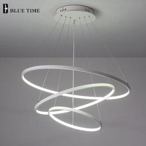 Image 4 - זהב & שחור & לבן מעגל מודרני LED תליון אור בית סלון חדר אוכל חדר מנורות LED תקרת תליון מנורה תליית מנורות