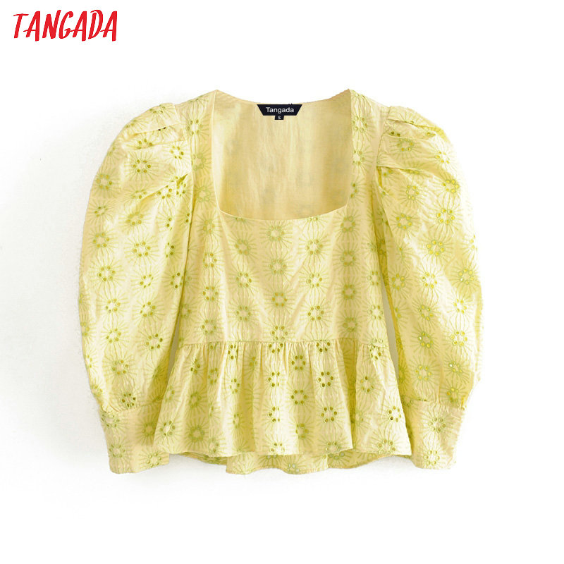 Tangada Women Ruffle Emboridery Crop Shirts Long Sleeve Solid Elegant Office Ladies Work Wear Blouses 3H380