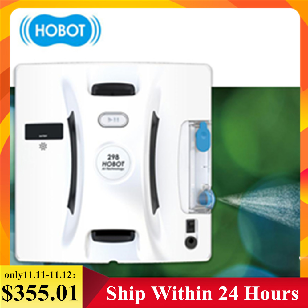 Original HOBOT 298 Smart Window Cleaner Robot Automatic Remote/APP Control Ultrasonic Water Spray 6kg Powerful Suction Household