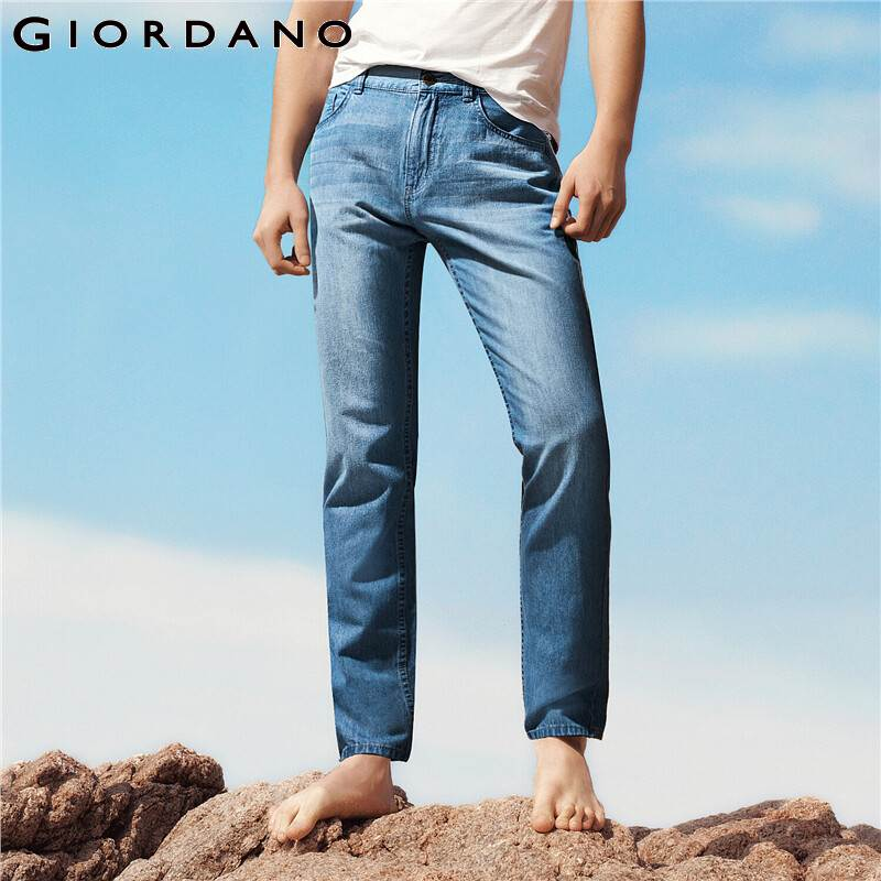 Giordano Men Jeans Moustache Effect Lightweight Cotton Denim Jeans Classic Five Pocket Durable Solid Vaqueros Hombre 13110202