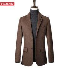 FGKKS Brand Men Wool Blend Coats Men's Solid Color Casual