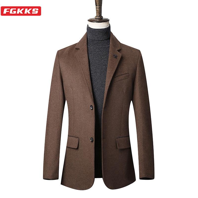 FGKKS Brand Men Wool Blend Coats Men's Solid Color Casual Wool Overcoat Winter New Business Trendy Wild Wool Coat Male