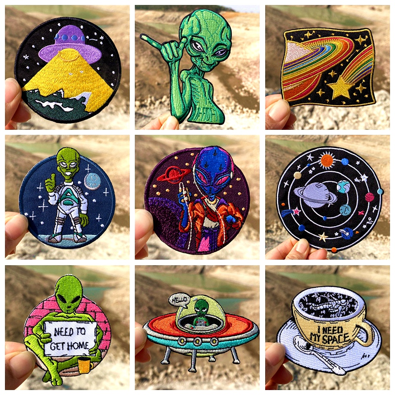 Prajna Alien UFO Patches on clothes Cartoon Iron On Embroidered Patches For Clothing thermoadhesive patches Badges for Clothes