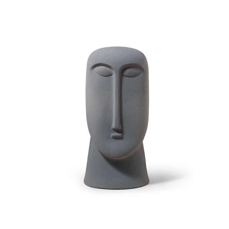 Nordic Ins Minimalistische Keramische Abstracte Vaas Zwart En Wit Menselijk Gezicht Creatieve Display Kamer Decoratieve Figue Hoofd Vorm Vaas