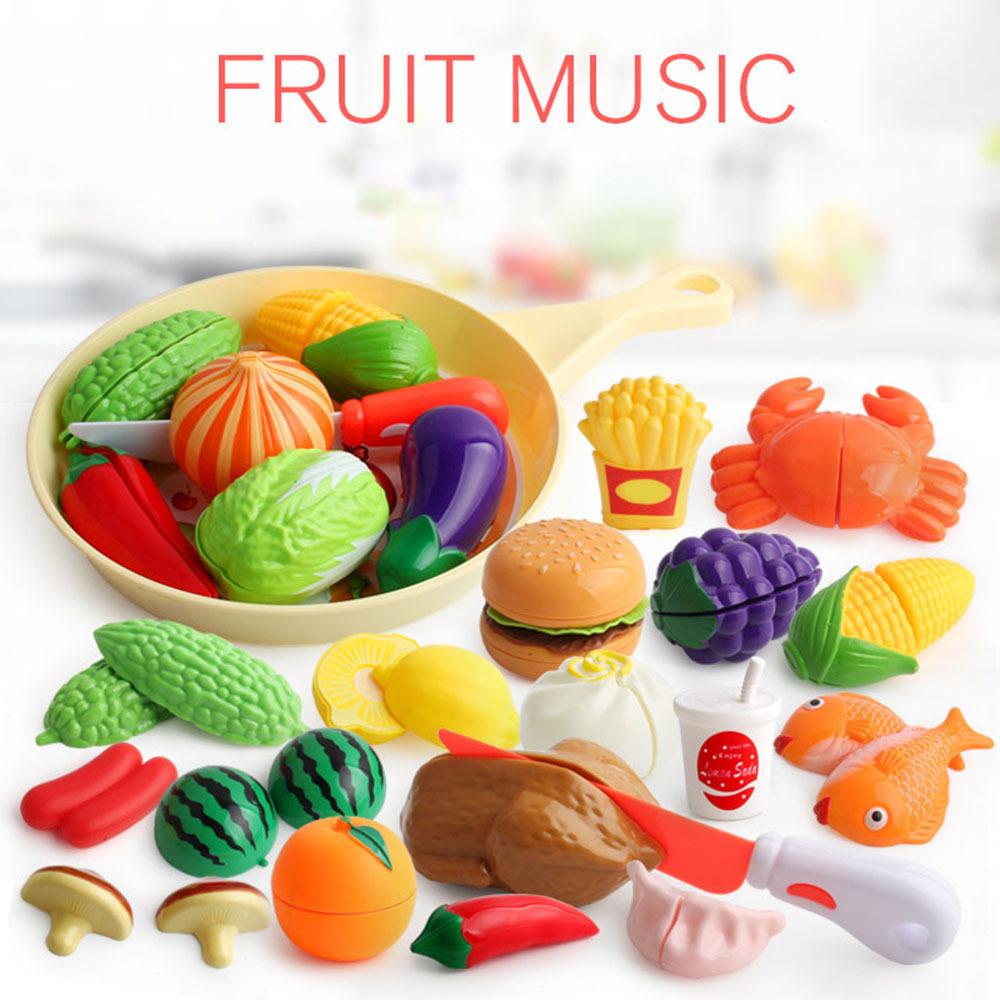 9pcs Children Kitchen Pretend Play Toys Cutting Fruit Vegetable Food Miniature Play Do House Education Toy Gift For Girl Kids