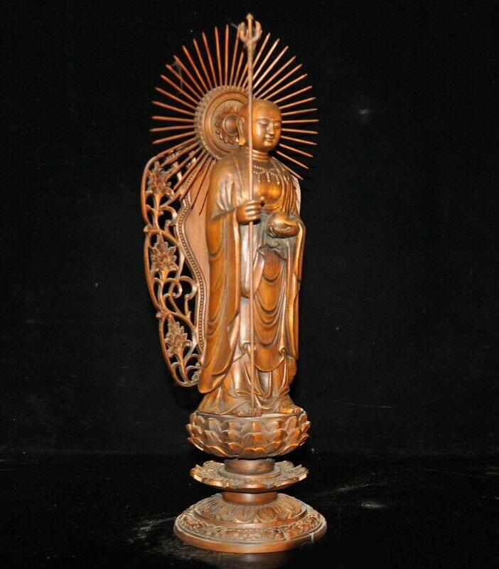 China Boxwood wood carved Jizo Ksitigarbha Tang Monk Xuanzang Bodhisattva Statue