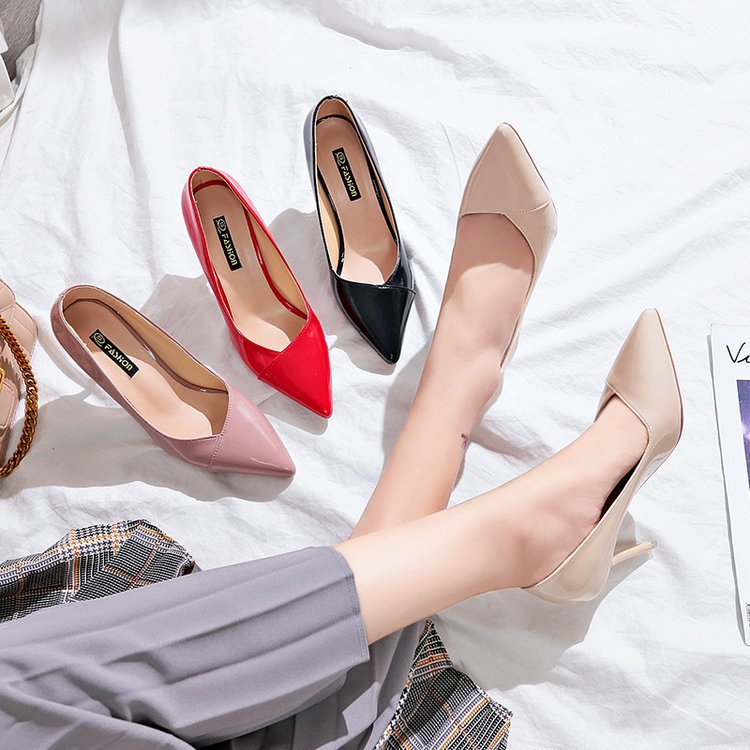 8 Cm Nude Color Small Fresh High Heels Korean Fashion Wild Stiletto Shallow Mouth Pointed Single Shoes Sexy Elegant Womens Shoes
