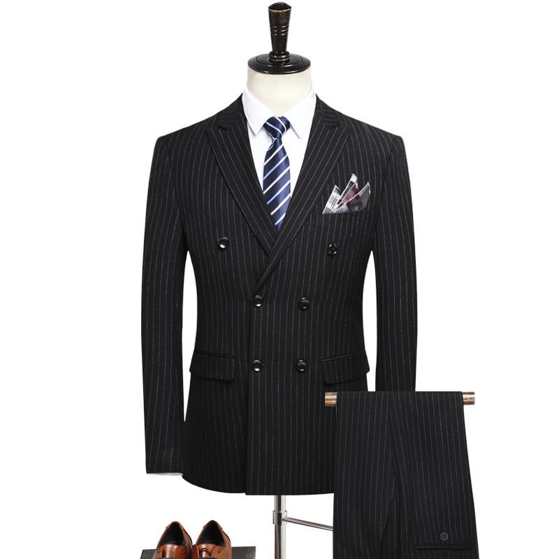 Men Suits костюм Men's Double Breasted Striped Suit Banquet Suit 3-piece Suit Blaze With Trousers And Vest Set костюм мужской