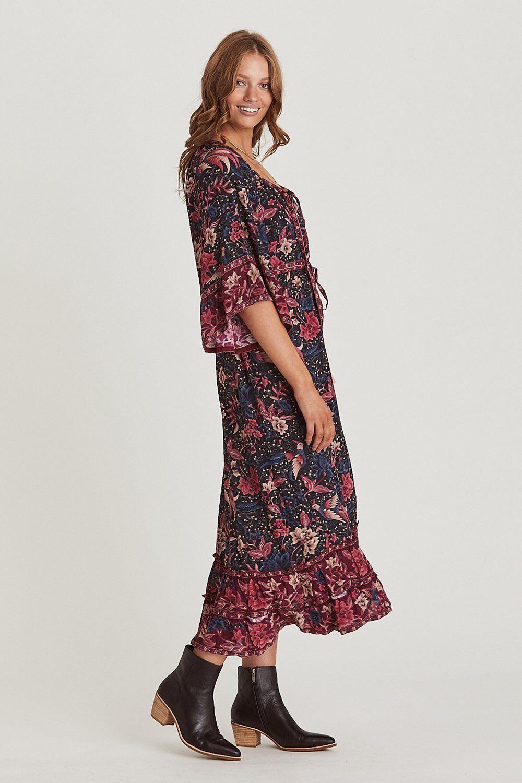 Ethnic Style Viscose Dress Bohemia Maxi Mandarin Sleeve Holiday