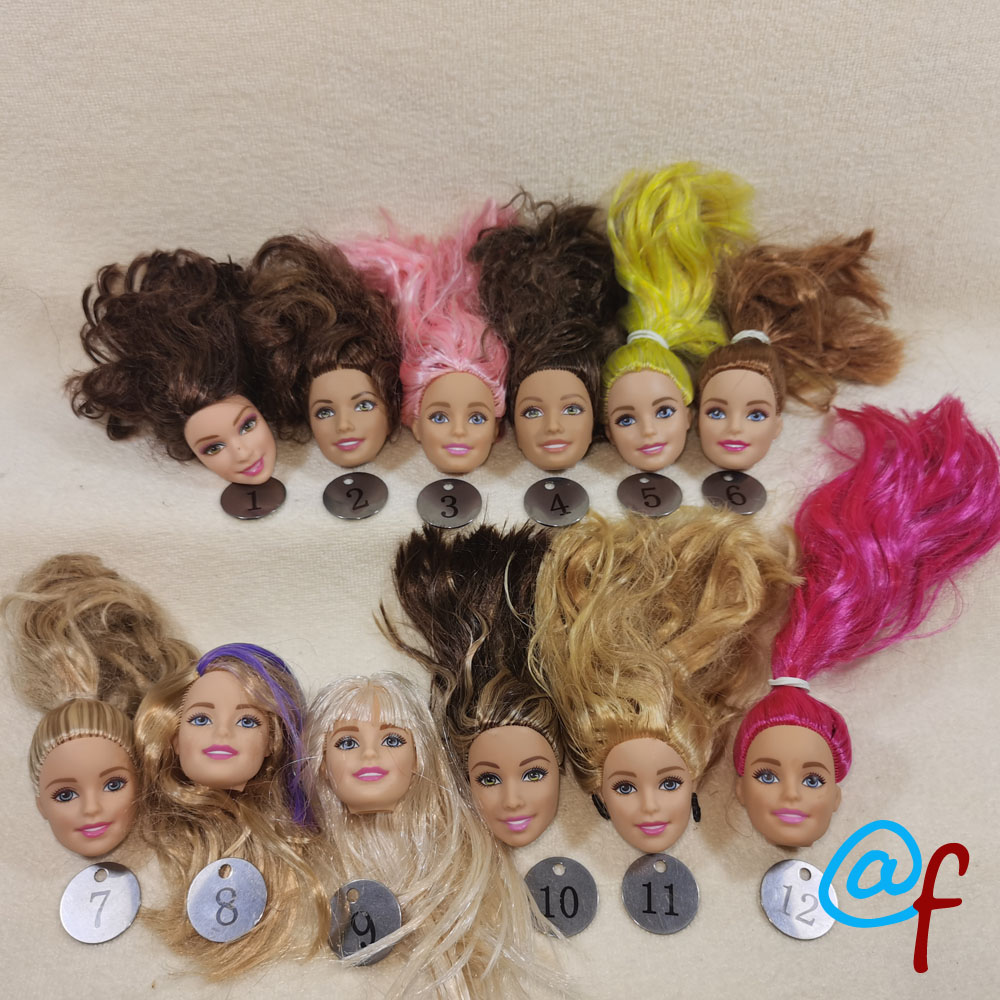 B20-4 Original Foreign Trade European Beauty1/6 OOAK NUDE Doll Head Mussed Long Hair For DIY Soft PVC Head With Fitting  90%NEW