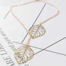 Free Shipping 2019 New Fashion Double layer Leaves Pendant Necklace Heart Necklace Women Holiday Beach Statement popular Jewelry(China)