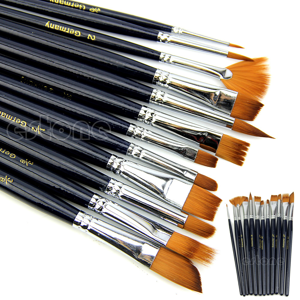 12pc Watercolors Brush Acrylic Oil Art Craft Aquarelle Paint Wooden Handle Pen Nail Artist Short Miniature Detail Painting Brush