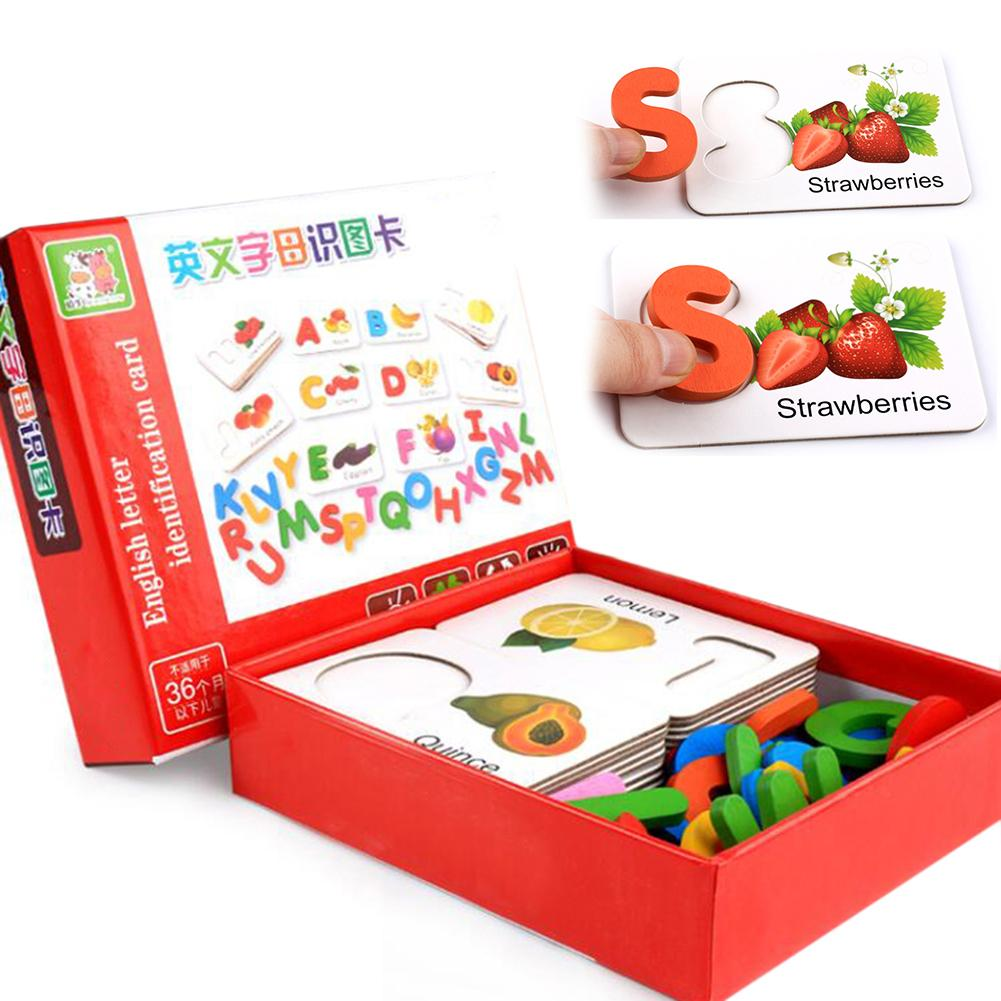 Funny Wooden Alphabet Letters Vegetable Puzzle Matching Cards Early Educational Toys Parent-Child Interactive Game For Children