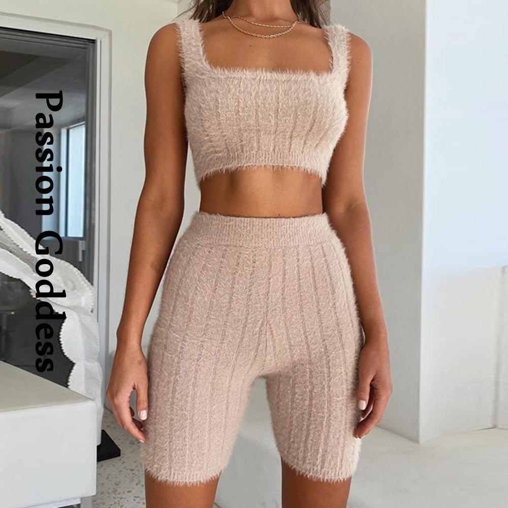2PCS Women Fluffy Plush Long Sleeve Crop Top Shorts Pants Casual Set Loungewear