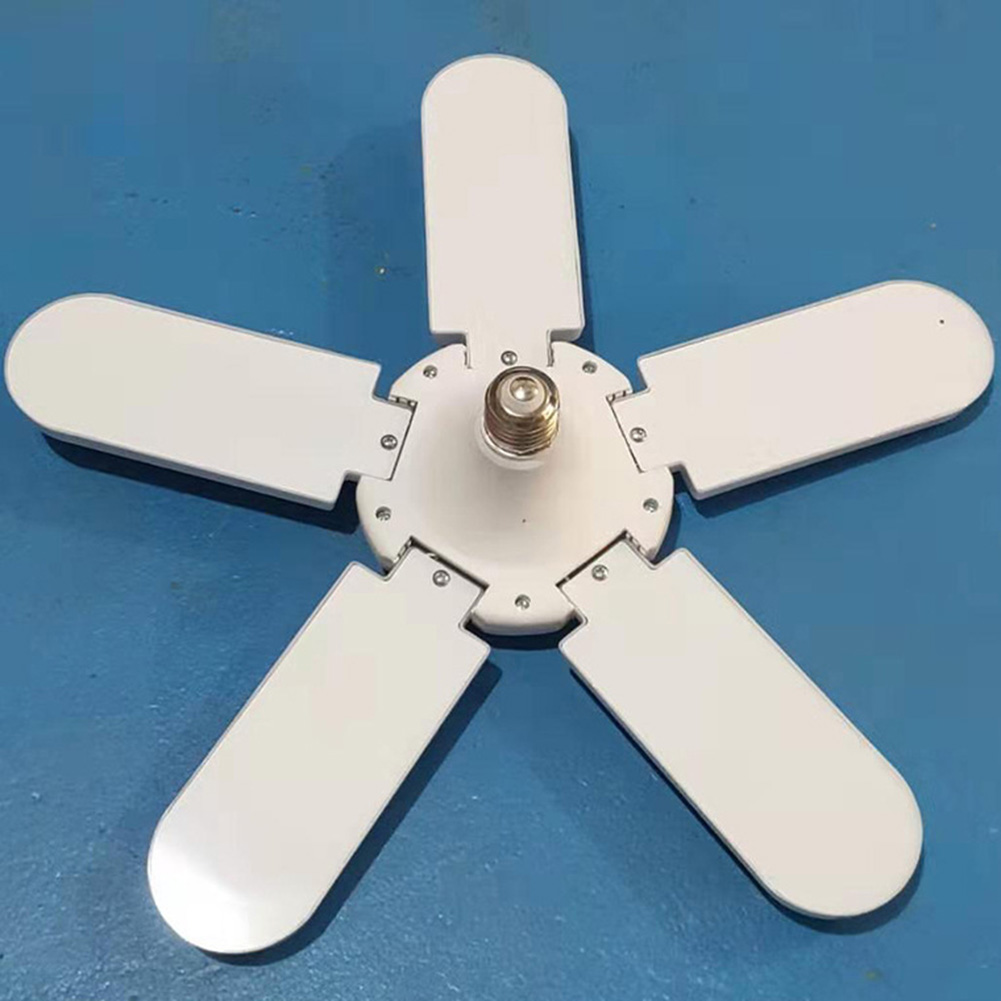 Foldable LED Garage Light 75W E27 Angle Classic Fan Blades Energy Saving Lamp 360-Degree Adjustable Ceiling Light