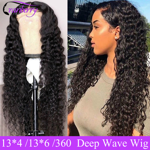 Cranberry Hair Deep Wave Wig 360 Lace Frontal Wig For Women 100% Remy Human Lace Front Human Hair Wigs Brazilian Hair Wig Outlet(China)