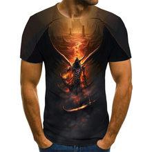 Men's skull t-shirt, 3D horror T-shirt, summer fashion top, round neck shirt, Ta children's clothing