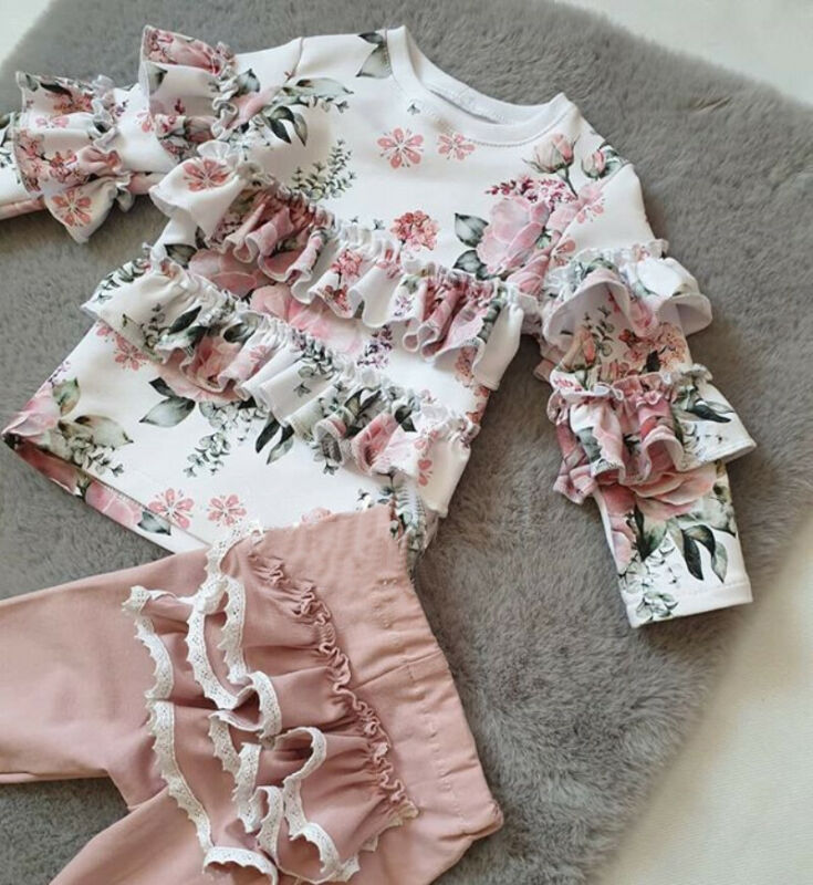 Toddler Kid Baby Girl Tracksuit Clothes Floral Tops T-Shirt Ruffle Pants Outfits